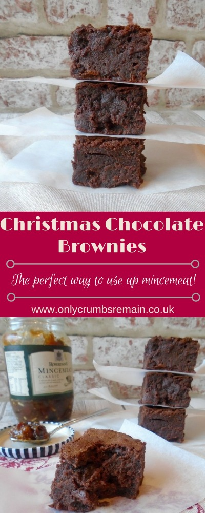 A Christmas Chocolate Brownie recipe with mincemeat, which is a delicious way of using up some of this seasonal fruity mixture without pastry.