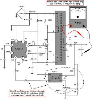 Hình 21 - Khi hỏng một trong các linh kiện của mạch hồi tiếp thì ta đo thấy điện áp ra cao và tự kích.