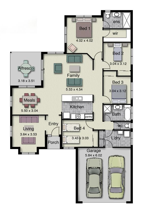 Single story home floor plan with 4 bedrooms, 2 baths, double garage, and 220 square meters