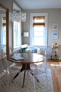 Simple Wooden Dining Room Tables For Small Spaces near the Glass Chairs under the Crystal Lamps