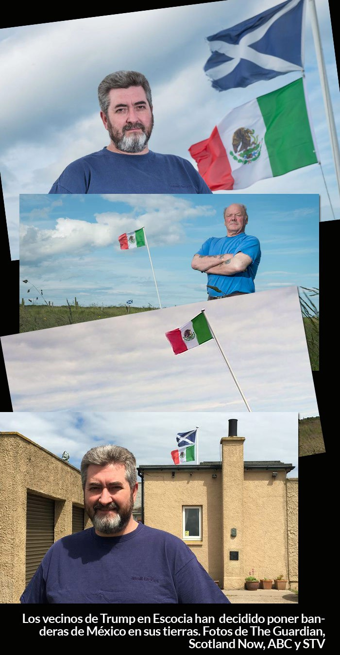 Escoceses ondean bandera mexicana en rechazo al muro de Trump