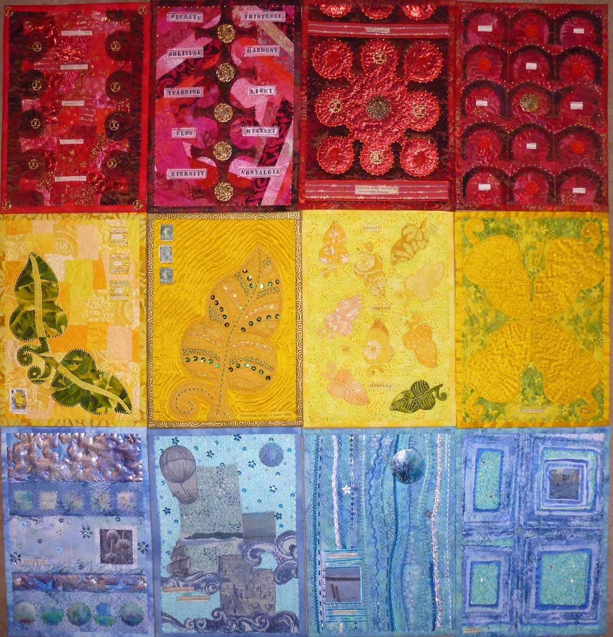 frieda oxenham journal quilts - red yellow and blue journal quilts