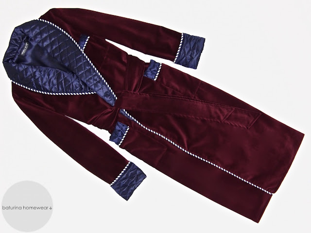 Mens velvet dressing gown long warm robe quilted silk smoking jacket