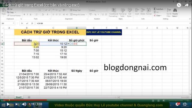 Cách Trừ Giờ Trong Excel | Học Excel Nâng Cao