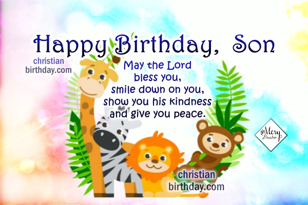 Christian birthday card for my little son, little boy, baby, happy birthday wishes by Mery Bracho with nice image.