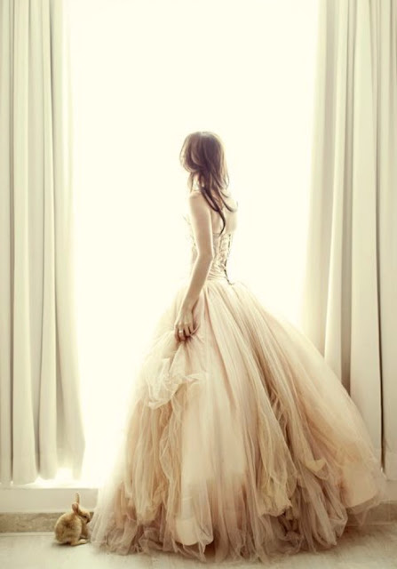 Gorgeous pink and white tulle gown on woman at window with bunny