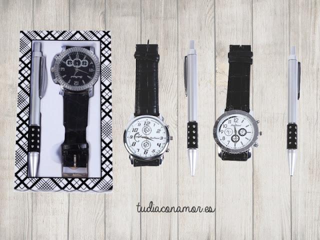 Un detalle práctico, elegante y original para hombre con el que siempre acertarás. Set o conjunto de boli y reloj masculino en caja de regalo.