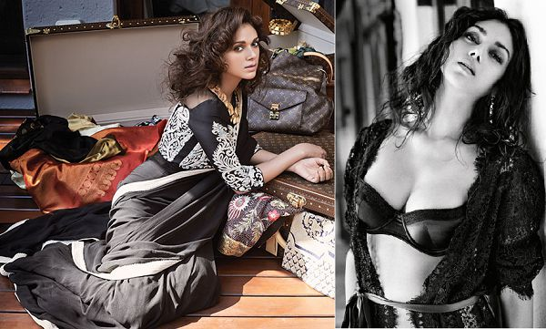 ADITI RAO HYDARI IN BLACK SAREE, BRA CLEAVAGE NAVAL SEXY STILL