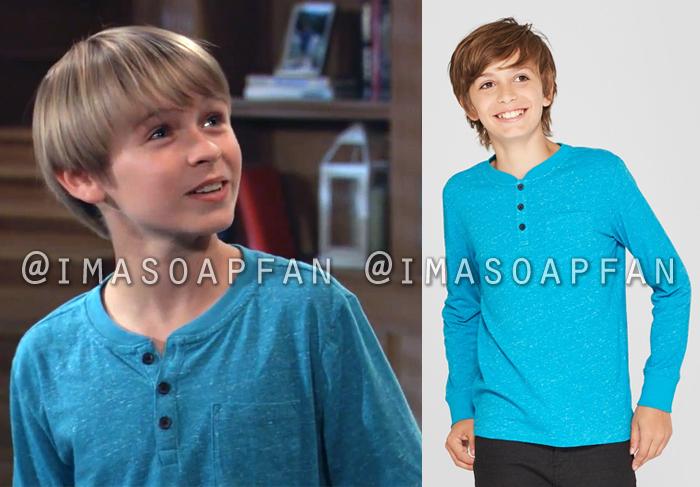 Jake Spencer, Hudson West, Speckled Turquoise Blue Long Sleeve Henley Shirt, General Hospital, GH