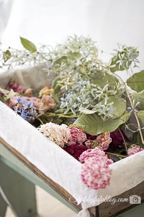 vintage blueberry crate with dried flowers