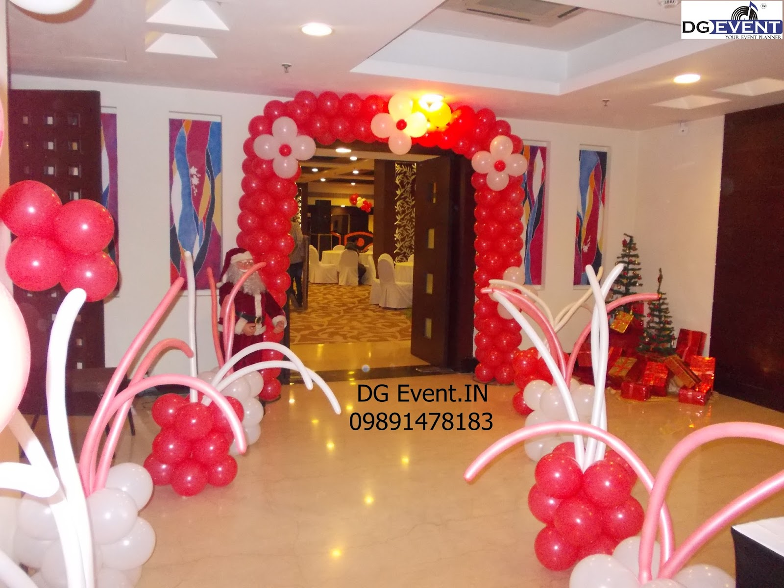 DJ Videek Event Update Red White balloon decoration for birthday
