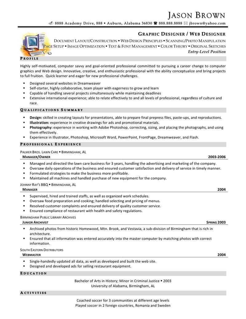resume format for web designer