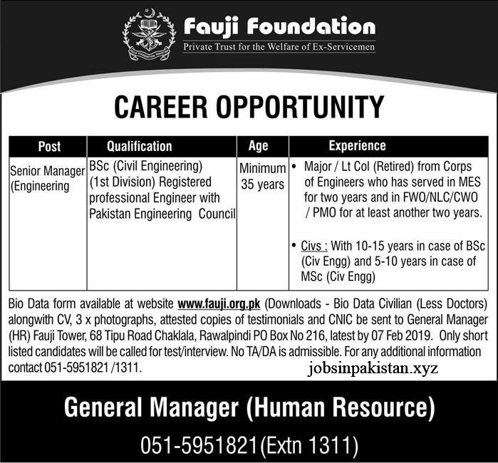 Advertisement 01 for Fauji foundation Jobs