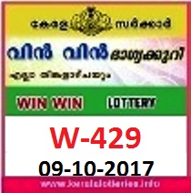Kerala Lottery Results-Win Win Lottery W-429 Results 09.10.2017