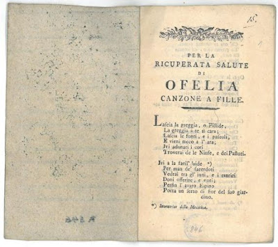 Première page du livret de Per la ricuperata salute di Ofelia (Da Ponte, Salieri, Mozart, Cornetti)