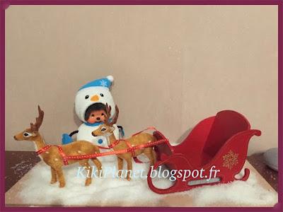 traineau du Père-Noël fait main pour Kiki ou Monchhichi, bois, handmade, miniature