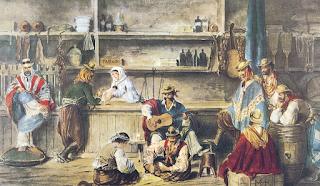 Interior de una pulpería (acuarela de Juan León Pallière, c.1858)