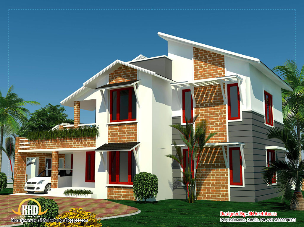4 bedroom sloping roof house in kerala 2354 sq ft for Looking for 4 bedroom house