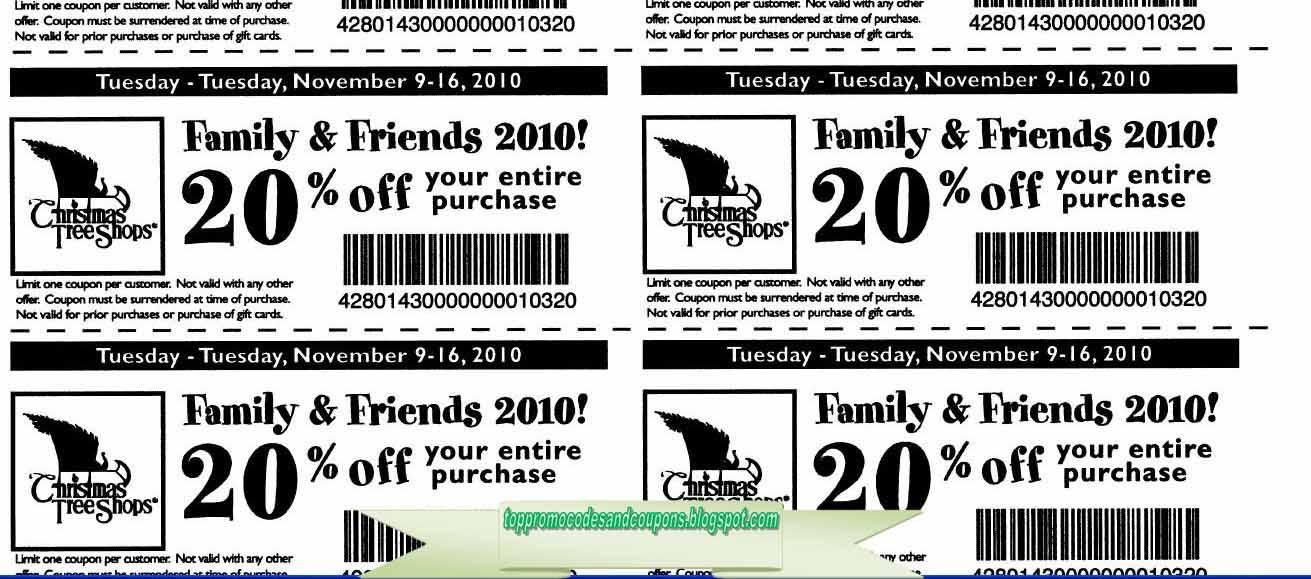 free printable christmas tree shops coupons - Christmas Tree Shop Printable Coupon
