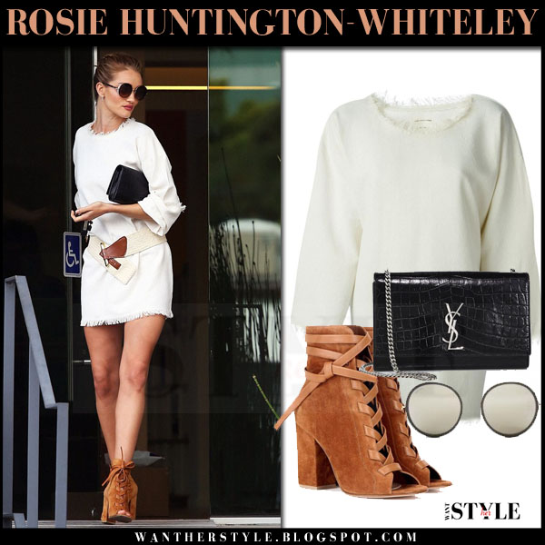 Rosie Huntington-Whiteley in cream mini isabel marant harry dress and brown suede gianvito rossi brooklyn ankle boots what she wore models off duty