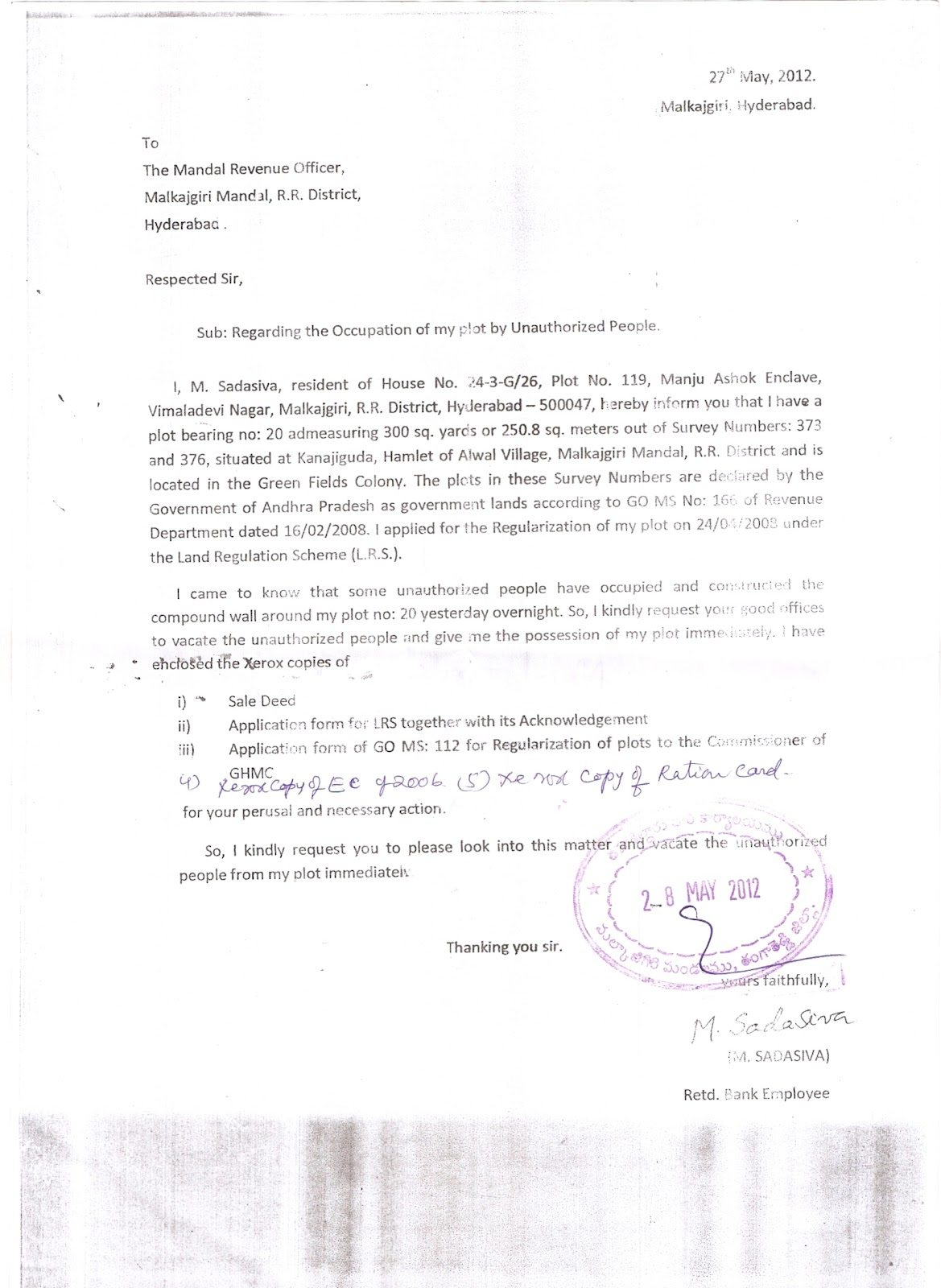 NEWS UPDATES: Scan copies of letter to MRO Office