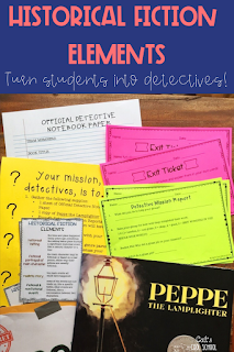 Introduce historical fiction elements by turning students into book detectives. This upper elementary activity engages students as they dive into this genre study. Perfect for starting a novel study or using with reader's workshop.