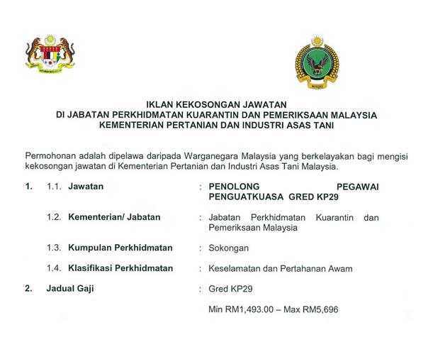 Jawatan Kosong Penolong Pegawai Penguatkuasa Kp29 Kementerian Asas Tani Terkini