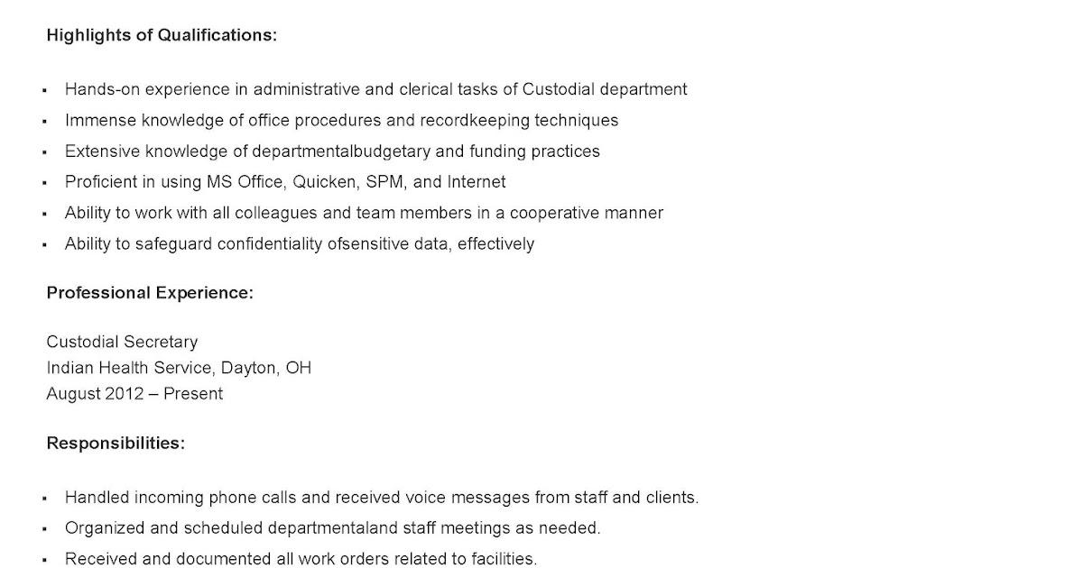 resume samples custodial secretary resume sample