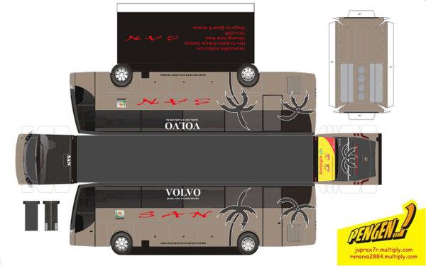 desain papercraft gratis: bus Trans-Jakarta