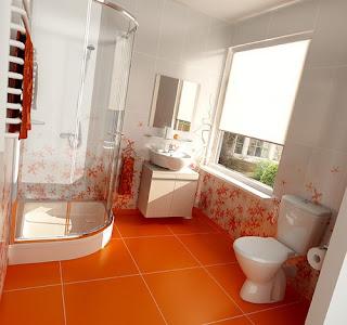 Baño decorado con naranja