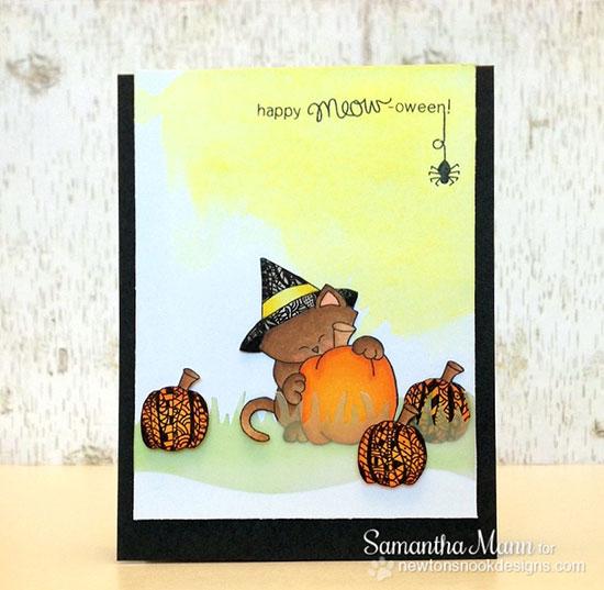 Happy Halloween Cat Card by Samantha Mann for Newton's Nook Designs | Newton's Perfect Pumpkin Stamp Set