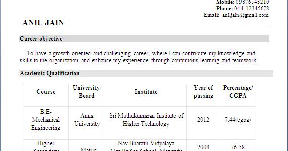 Resume Formats Mechanical Engineer Resume For Fresher