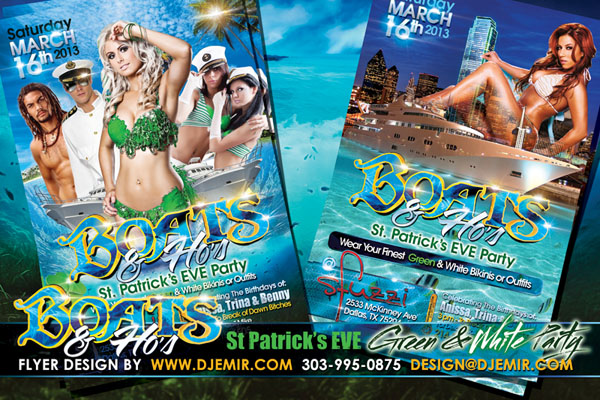 Boats And Ho's St. Patrick's Day Eve Green And White Bikinis and Outfits Boat Party Flyer Design