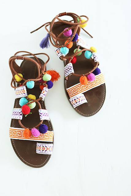 Pom Pom Sandals by Darling Darlene