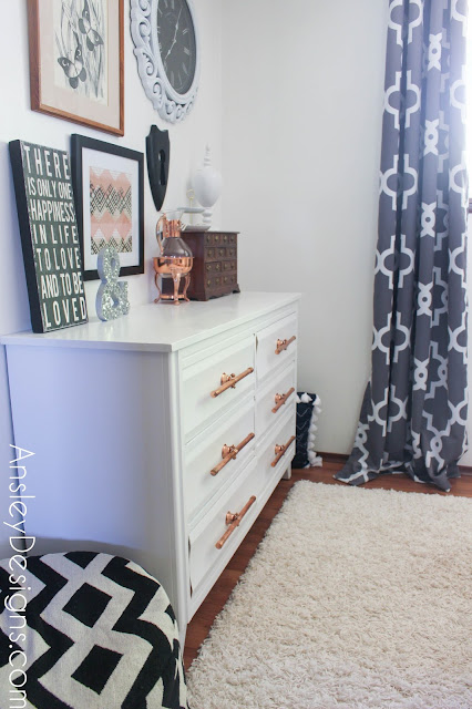 Painted white dresser with DIY copper drawer pulls!