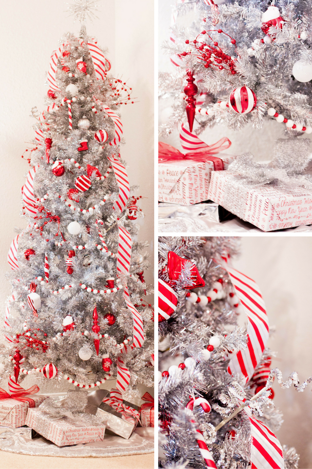 candy cane christmas candy cane tree silver christmas tree silver tree peppermint - Candy Cane Christmas Tree Decorations
