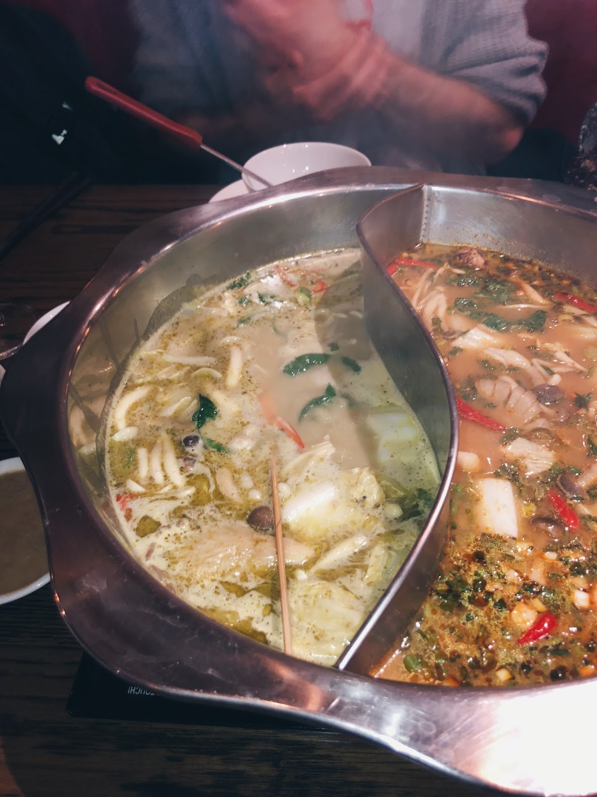 chinese hotpot in bowl