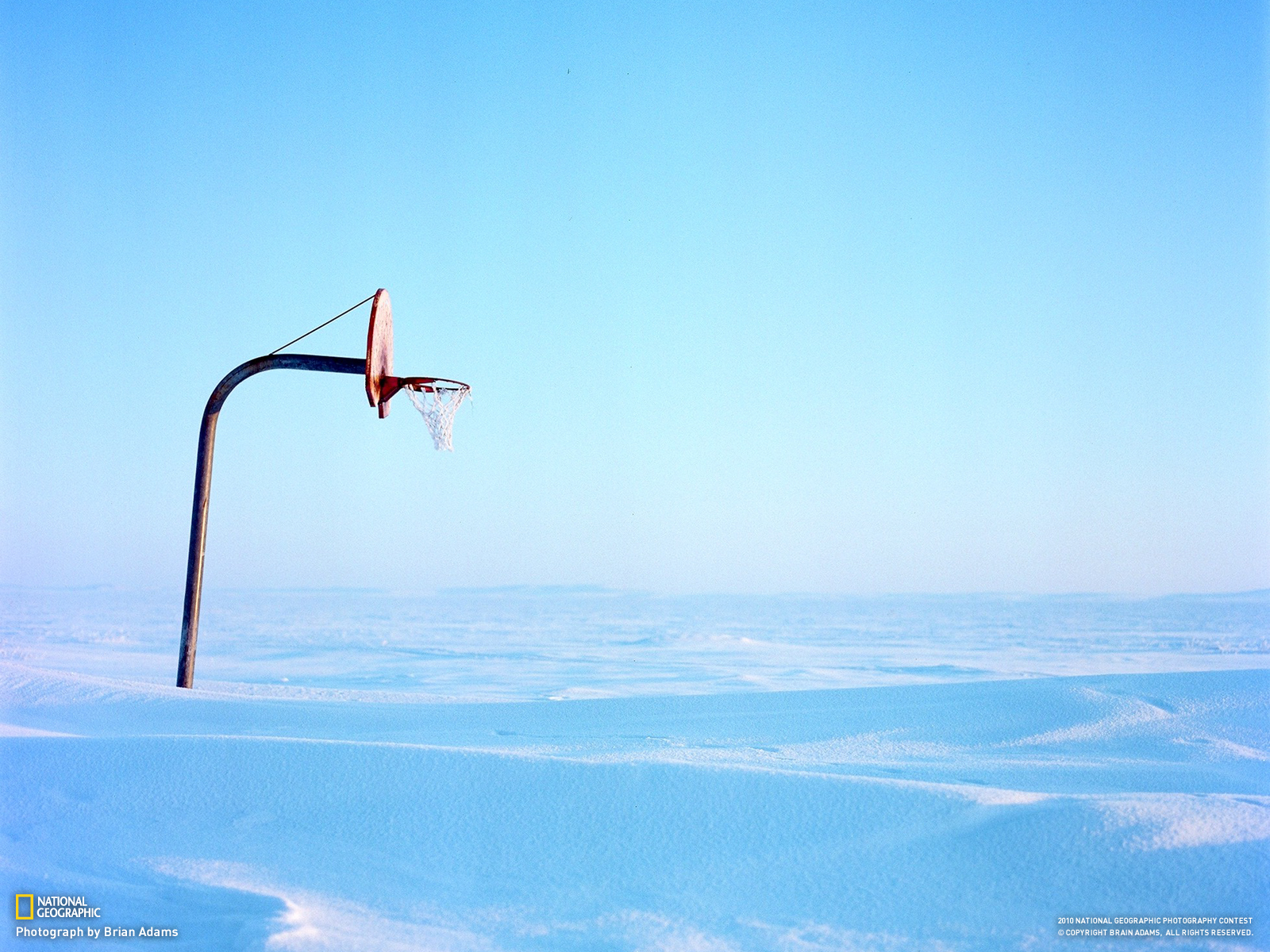 Wallpaper Basketball Court Covered With Snow Wallpaper
