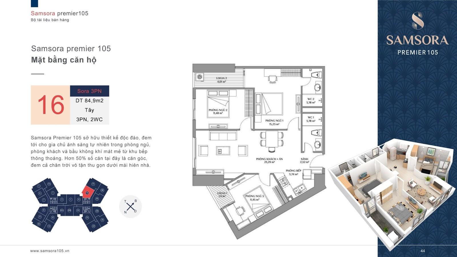 Mặt bằng căn hộ số 16 chung cư Samsora Premier