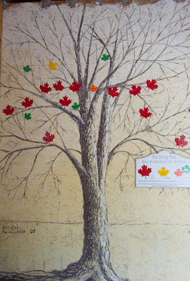 Artwork in the form of a tree, with leaves to represent the donations received for improvement and upkeep of the park and mill at Kinmount, Ontario.