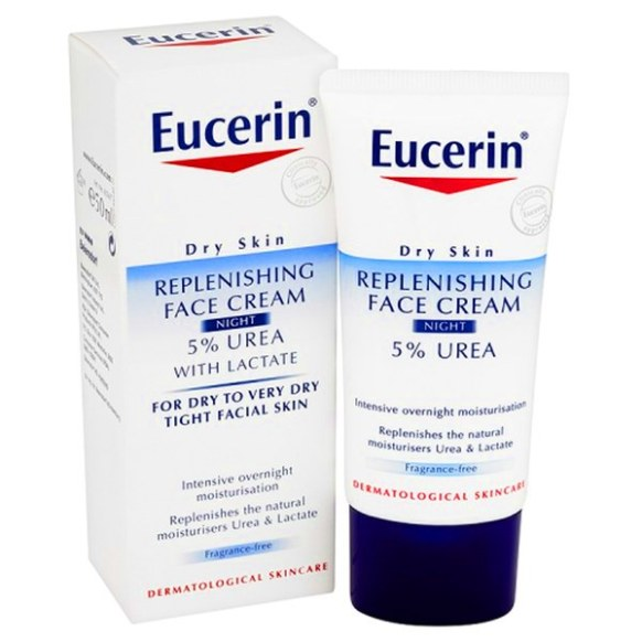 Skincare untuk kulit kering Eucerin Dry Skin Replenishing Face Cream Night 5% Urea With Lactate