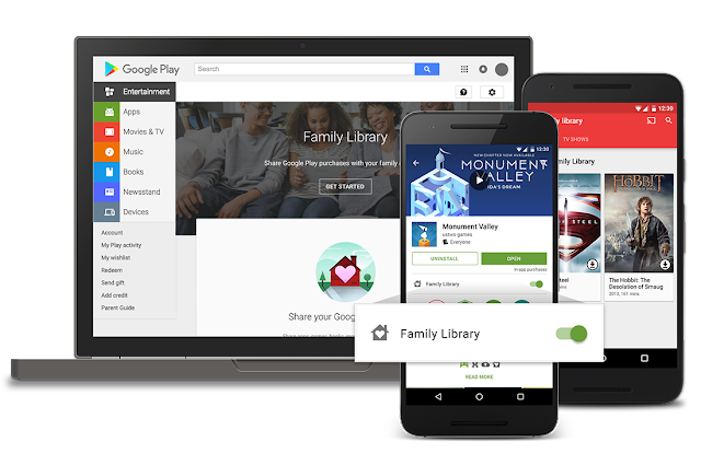 Google Play Family Library for sharing apps and movies now available, Google Play Family Library for apps, movies, and TV launches today,