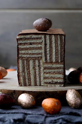 gâteau , Pâques , rayures , joli gâteau , vanille/chocolat