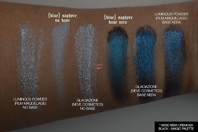 blue saphyre, alchemist kat von d,glaciazione, neve cosmetics, luminous powder, film maquillage, comparazione