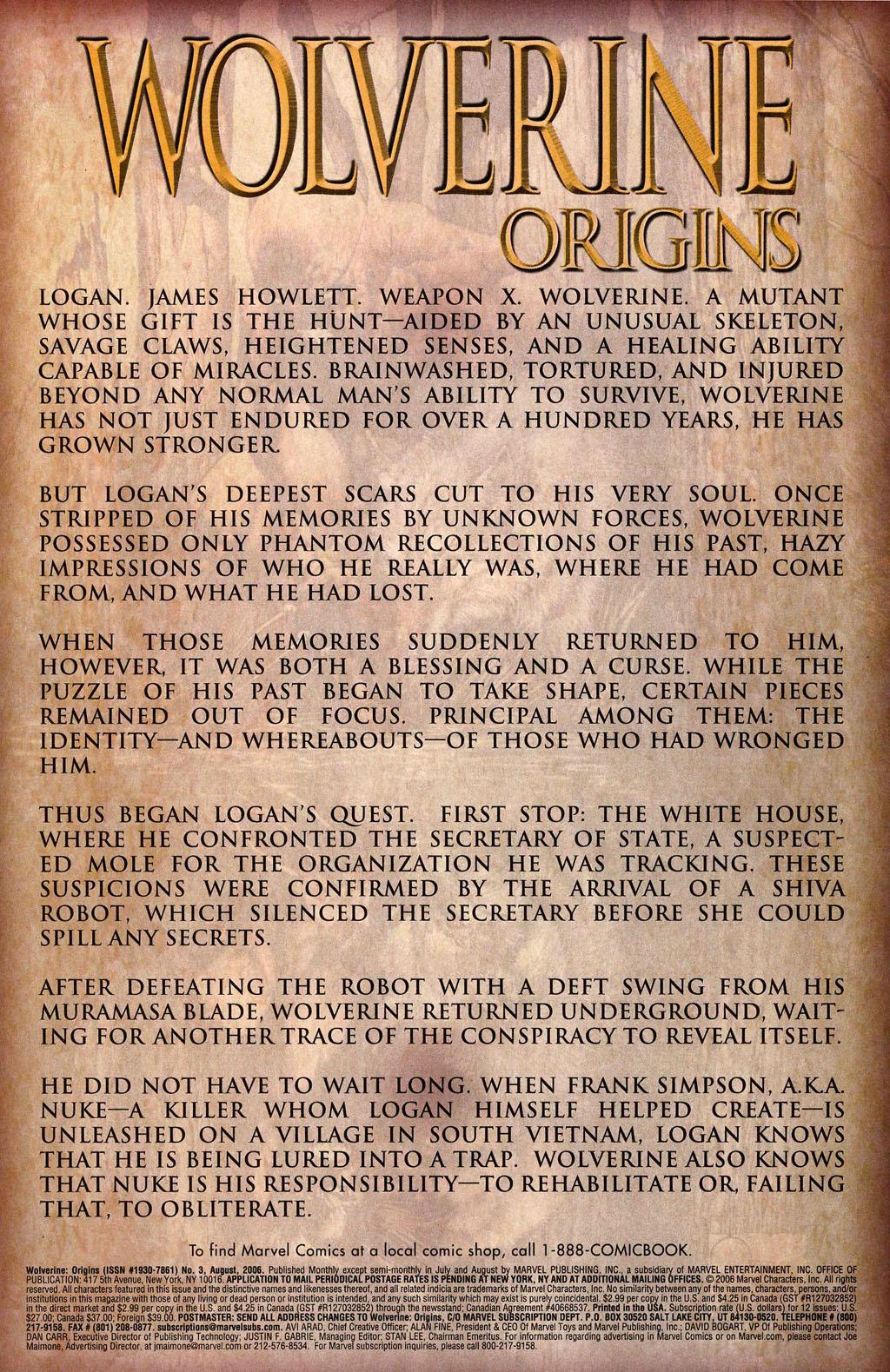 Read online Wolverine: Origins comic -  Issue #3 - 2