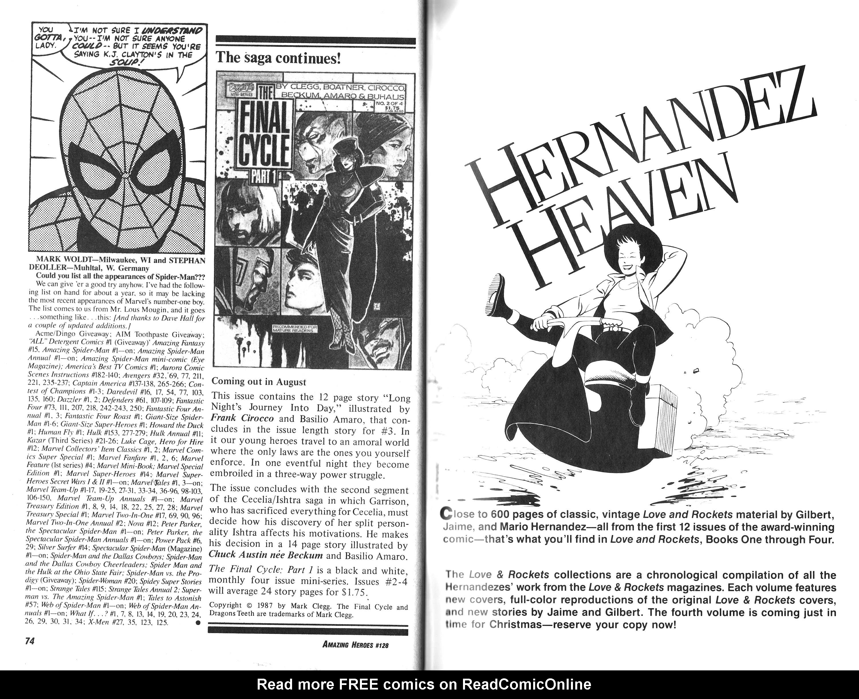 Read online Amazing Heroes comic -  Issue #128 - 38