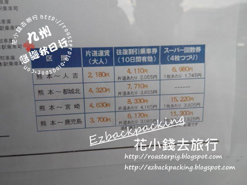 熊本出發去九州各地的票價