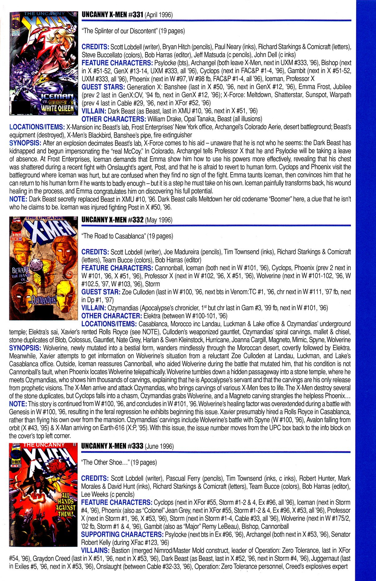 Read online Official Index to the Marvel Universe comic -  Issue #8 - 63