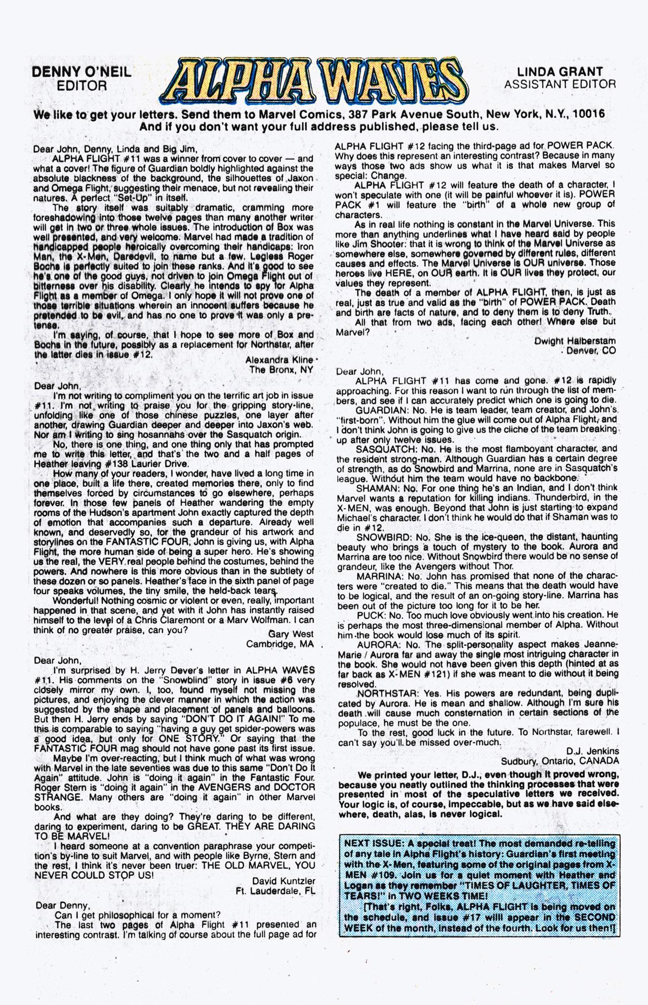 Read online Alpha Flight (1983) comic -  Issue #16 - 25