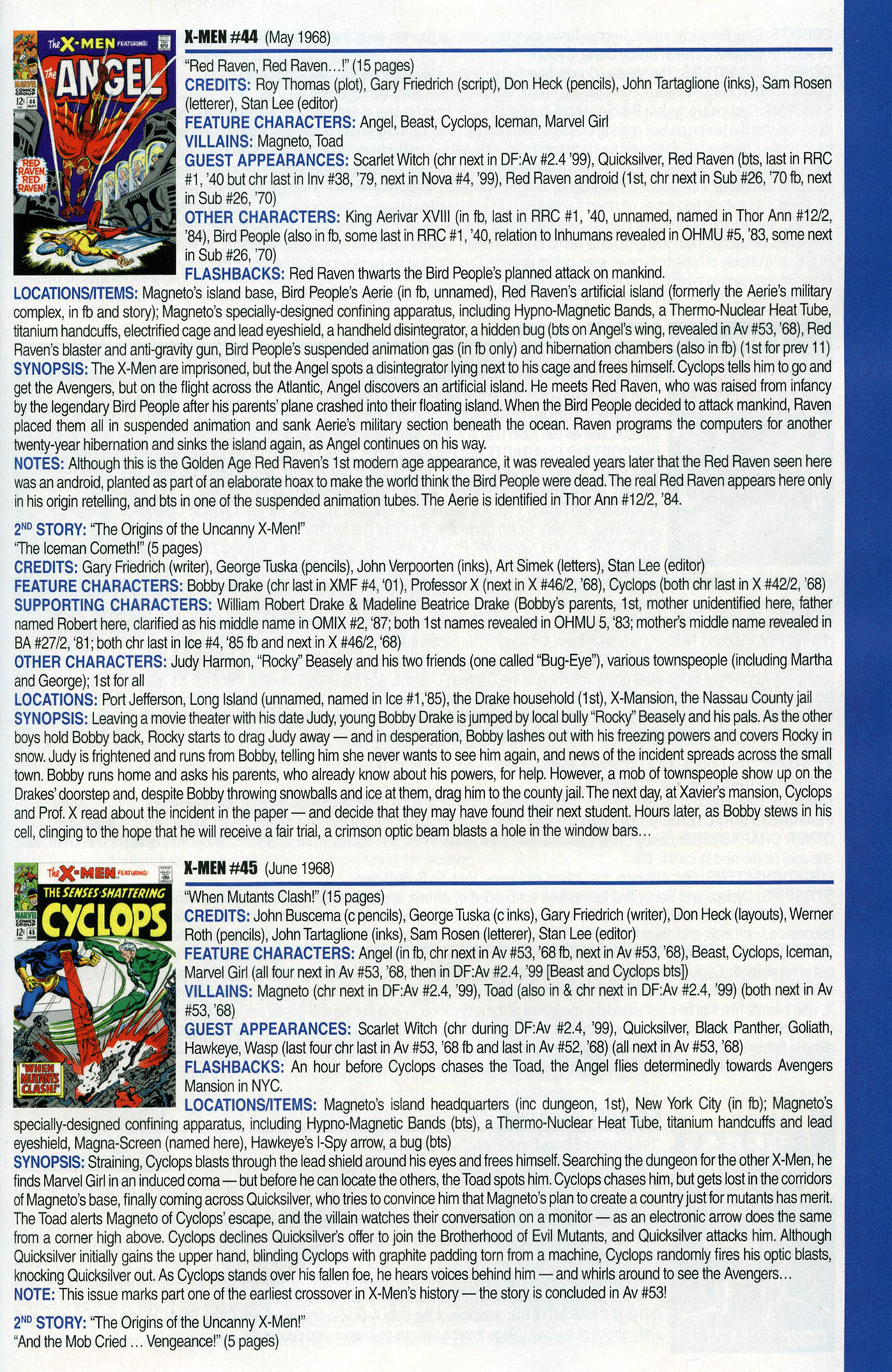 Read online Official Index to the Marvel Universe comic -  Issue #1 - 63